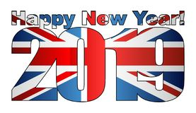 Happy New Year 2019 with United Kingdom flag inside. Illustration, 2019 HAPPY NEW YEAR NUMERALS, 2019 Great Britain Flag Numbers royalty free illustration