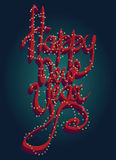 Happy new Year Universal greeting card with 3D font Christmas illumination Stock Images