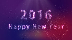 2016 Happy New Year. Universe fireworks stock photo