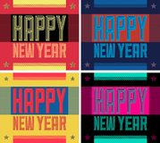 Happy New Year Urban Grunge Style Typographic vector card poster Collection Set royalty free illustration