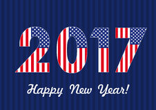 2017 happy new year USA banner. Vector card Happy New Year 2017 with American flag Royalty Free Stock Photo