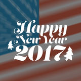 Happy New Year 2017. With USA flag background Royalty Free Stock Photo
