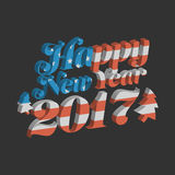 Happy New Year 2017. With USA flag background Royalty Free Stock Image