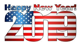 Happy New Year 2019 with USA flag inside. Illustration, 2019 HAPPY NEW YEAR NUMERALS, 2019 USA American Flag Numbers stock illustration