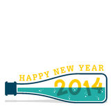 Happy new year 2014. Using bottle design background Royalty Free Stock Photo