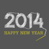 Happy new year 2014. Using thread and needle design background Stock Images