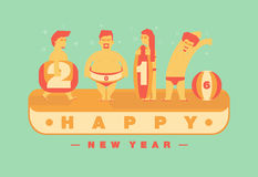 Happy 2016 new year, Vacation to the beach theme.Vector flat Royalty Free Stock Photos