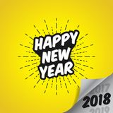 Happy New Year 2018 with Vanishing 2017 and 2019 - Vector Illustration. Bla Bla Bla Royalty Free Stock Photography