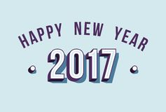 Happy New Year 2017 varsity style retro typography. Happy New Year 2017 design, vintage style isometric typography for holiday season. EPS10 vector Royalty Free Stock Photos