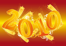 Happy new year, vector. Happy new year 2010 with 3d numbers Royalty Free Stock Photography
