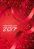 Happy New Year 2017. Vector abstract red glowing background with bokeh, lens flare and red ribbon. Christmas greeting card, poster, calendar or banner holiday stock illustration