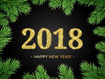 2018 Happy New Year vector background with Christmas tree frame of fir branch. Stock Photo