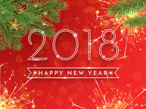 2018 Happy New Year vector background with Christmas tree frame of fir branch. Stock Images
