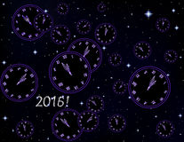 Happy New Year vector background with clock on a space starry background. Happy New Year vector background with clock showing five minutes to midnight on a space stock illustration