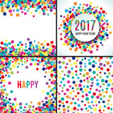 2017 Happy new year vector background. 2017 Happy new year colorful vector background. Banner gretting template. Bright fun round confetti. Set of colorful card Royalty Free Stock Photography