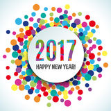 2017 Happy new year vector background. 2017 Happy new year colorful vector background. White paper banner gretting. Bright fun round confetti Stock Photo