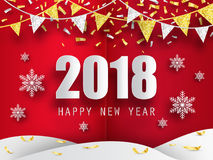 2018 Happy New Year vector background with 3d paper snowflakes. 2018 Happy New Year background with 3d paper snowflakes. Vector background. Greeting card with Stock Images