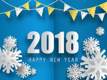 2018 Happy New Year vector background with 3d paper snowflakes. 2018 Happy New Year background with 3d paper snowflakes. Vector background. Greeting card with Stock Image