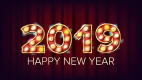 2019 Happy New Year Vector. Background Decoration. Greeting Card Design. 2019 Light Sign. 3D Electric Glowing Digit. Holiday Vintage Golden Illuminated Light Stock Photography