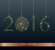 Happy New Year 2016 - vector Background. Elegant black vector background illustration with glowing, sparkling stars and Christmas Balls Vector Illustration