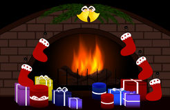 Happy New Year vector background with fireplace and gifts and decorations around it Royalty Free Stock Photography
