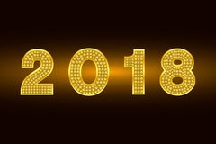 Happy New Year 2018. Vector background. Gold figures with rhinestone. Greeting illustration for Xmas. Template for invitation, fly. Happy New Year 2018. Vector stock illustration