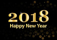 2018 Happy New Year vector background with gold glitter numbers. Festive retro poster with shimmering texture. 2018 Happy New Year vector background with gold Stock Photography
