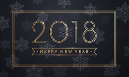 2018 Happy New Year vector background with gold and silver glitter numbers. Royalty Free Stock Photography