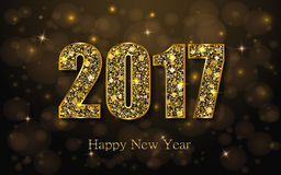 Happy New Year 2017. Vector background. Happy New Year 2017. Background with gold sparkling texture. Vector Illustration Stock Photos