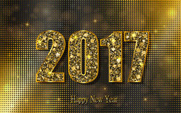 Happy New Year 2017. Vector background. Happy New Year 2017. Background with gold sparkling texture. Vector Illustration Stock Photography