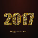 Happy New Year 2017. Vector background. Happy New Year 2017. Background with gold sparkling texture. Vector Illustration Royalty Free Stock Photos