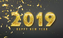2019 Happy New Year vector background with golden confetti, tinsel elements, shine glitter numbers. Christmas celebrate royalty free illustration