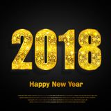 Happy New Year 2018. Vector background. Happy New Year 2018. Background with golden sparkling texture. Gold Numbers 0, 1, 2, 8. Vector Illustration for holiday Royalty Free Stock Images