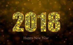 Happy New Year 2018. Vector background. Happy New Year 2018. Background with golden sparkling texture. Gold Numbers 0, 1, 2, 8. Vector Illustration for holiday Royalty Free Stock Photo