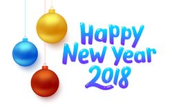Happy New Year 2018 vector background with balls. 2018 Happy New Year vector background. Greeting card design with red, blue and gold colored hanging Christmas Stock Photos
