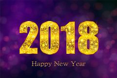 Happy New Year 2018. Vector background. Happy New Year 2018. Background with golden sparkling texture. Gold Numbers 0, 1, 2, 8. Vector Illustration for holiday Stock Photography