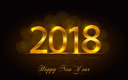Happy New Year 2018. Vector background. Happy New Year 2018. Background with golden sparkling texture. Gold Numbers 0, 1, 2, 8. Vector Illustration for holiday Stock Images