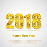 Happy New Year 2018. Vector background. Happy New Year 2018. Background with golden sparkling texture. Gold Numbers 0, 1, 2, 8. Vector Illustration for holiday Stock Photo