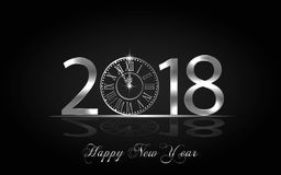 Happy New Year 2017. Vector background. Happy New Year 2018. Background with silver sparkling texture. Argent Numbers 1, 2, 8 with shiny clock.. Vector Royalty Free Stock Image