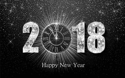 Happy New Year 2017. Vector background. Happy New Year 2018. Background with silver sparkling texture. Argent Numbers 1, 2, 8 with shiny clock.. Vector Stock Photos