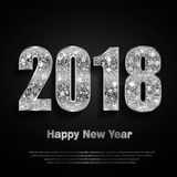 Happy New Year 2017. Vector background. Happy New Year 2018. Background with silver sparkling texture. Glitter Numbers 0, 1, 2, 8. Vector Illustration for Royalty Free Stock Photos