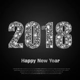 Happy New Year 2017. Vector background. Happy New Year 2018. Background with silver sparkling texture. Glitter Numbers 0, 1, 2, 8. Vector Illustration for Stock Photos