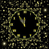 Happy New Year vector background with shining snowflakes and golden clock showing five minutes to midnight. Happy New Year vector background with golden clock Royalty Free Stock Images
