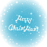 Happy New Year vector background with sign on a frozen window Merry Christmas!, Christmas ball and glowing snowflakes Royalty Free Stock Photo