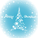 Happy New Year vector background with sign on a frozen window Merry Christmas!, Christmas tree and glowing snowflakes Royalty Free Stock Images