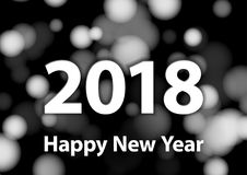 2018 Happy New Year vector background with silver glitter numbers. Festive retro poster with shimmering texture. 2018 Happy New Year vector background with Stock Photos