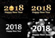 2018 Happy New Year vector background with silver glitter numbers. Festive retro poster with shimmering texture. 2018 Happy New Year vector background with Stock Images