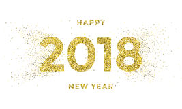 2018 Happy New Year vector background with silver snowflakes pattern. 2018 Happy New Year vector background with gold snowflakes pattern and golden glitter Royalty Free Stock Image