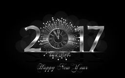 Happy New Year 2017. Vector background. Happy New Year 2017. Background with silver sparkling texture. Vector iIlustration with clock Stock Illustration