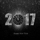 Happy New Year 2017. Vector background. Happy New Year 2017. Background with silver sparkling texture. Vector iIlustration with clock Vector Illustration